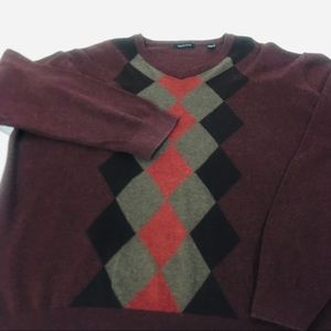 Van Heusen Mens Xl Burgundy Argyle Sweater